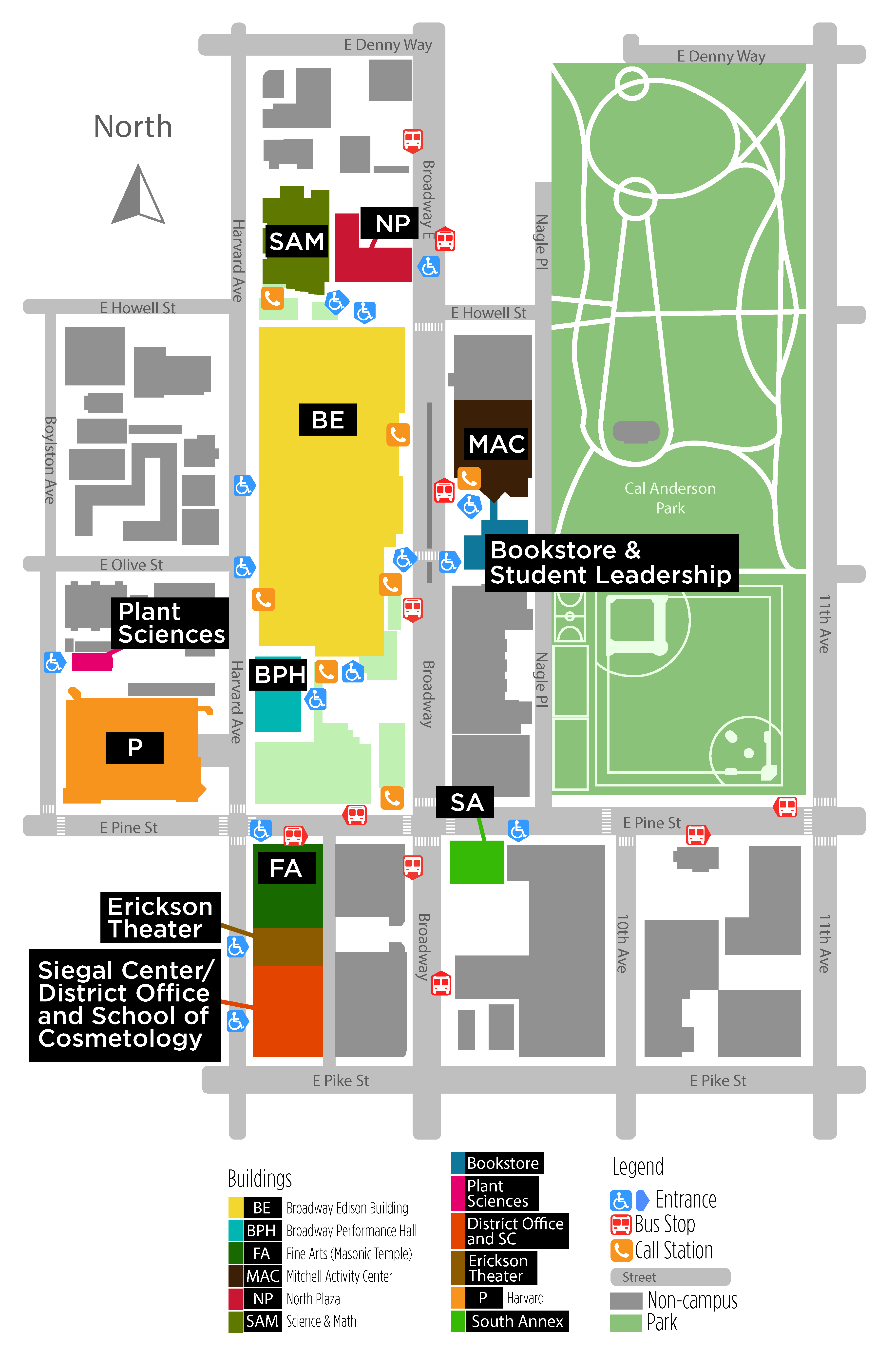 Seattle Central College Broadway campus map