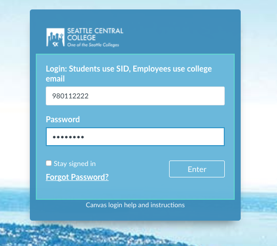 Canvas login example screen